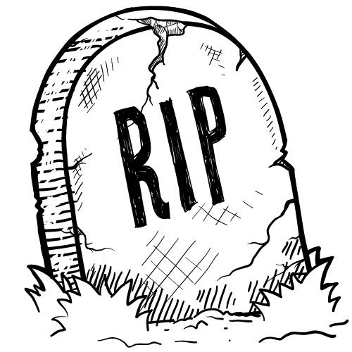 "A tombstone engraved with ""RIP,"" suggesting a dead nonprofit after closing."