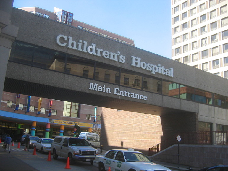 The entrance to the nonprofit Boston Children's Hospital