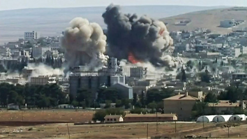 An explosion in the northern Syria town of Kobane