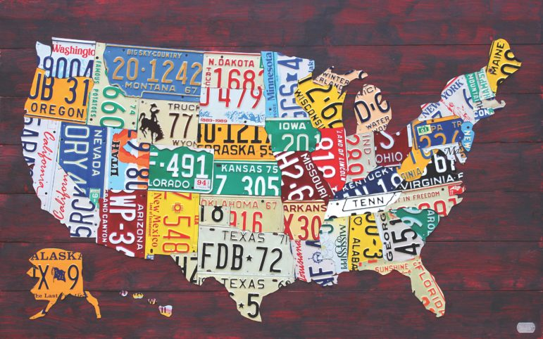 """LICENSE PLATE MAP OF THE USA"" BY DESIGN TURNPIKE / WWW.DESIGNTURNPIKE.COM"