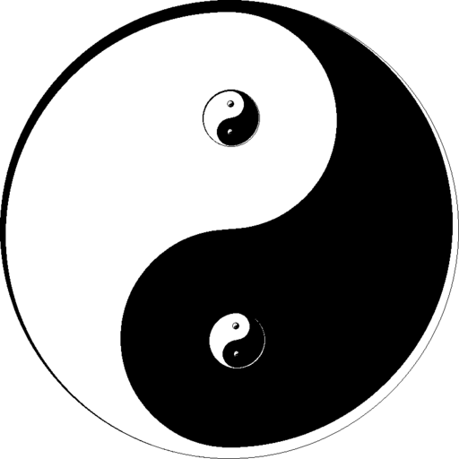 A yin and yang symbol with the dots replaced by other yin-yang symbols. used in article about leadership lessons