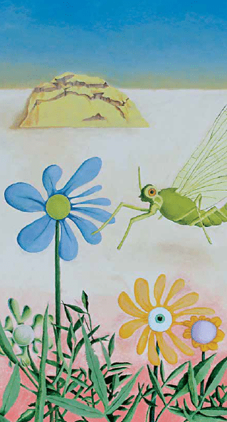 painting of a grasshopper landing on a blue flower. Used in a article about social enterprise