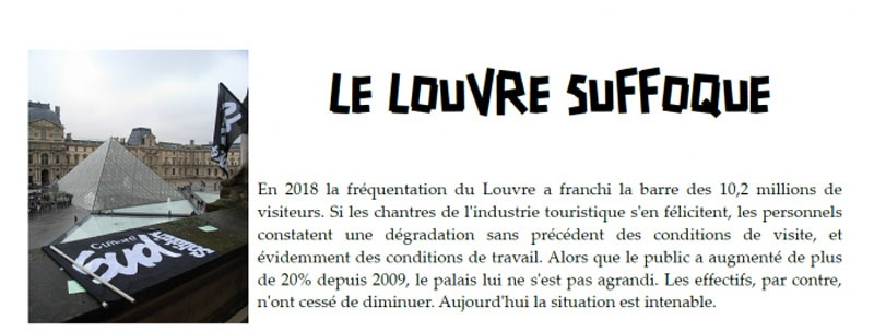"""Le Louvre Suffoque,"" a statement from the striking Louvre workers."