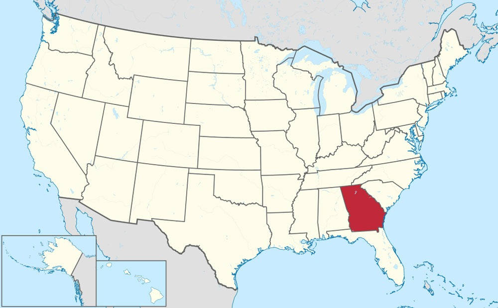 A map of the United States, with the state of Georgia colored in red.