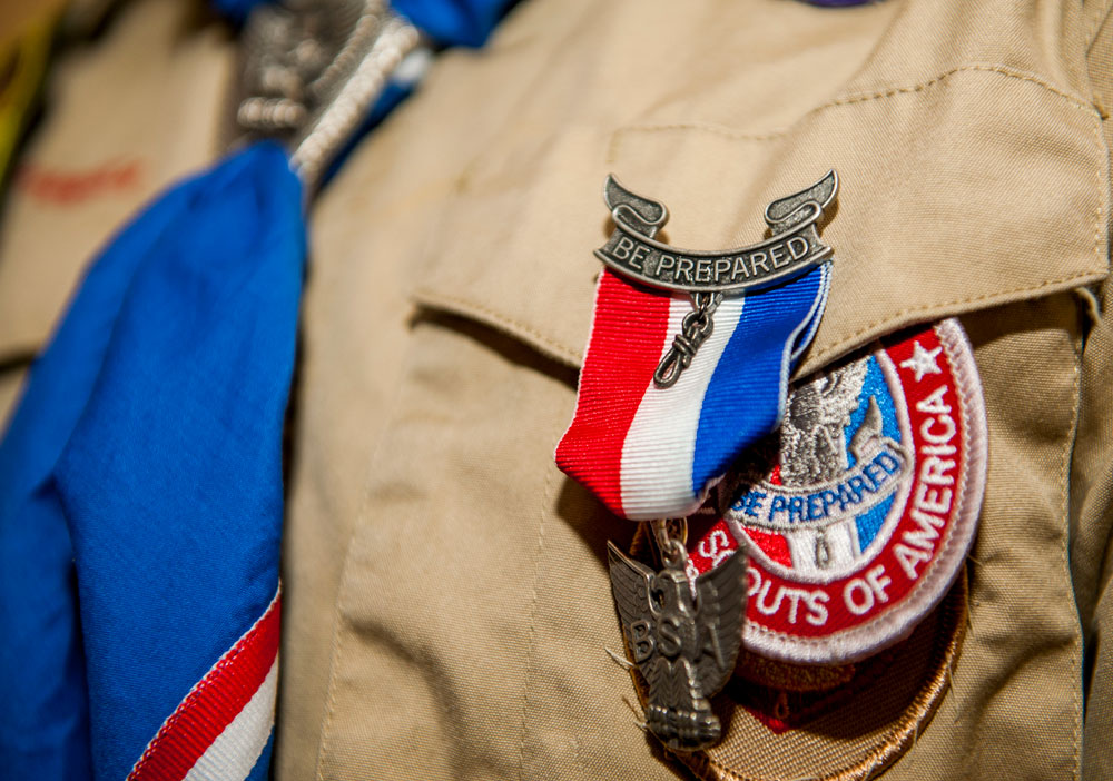 An Eagle Scout medal rests on the uniform of Matthew O'Connor, a Boy Scouts of America Troop 165 Eagle Scout, after a recognition ceremony in the base chapel at Spangdahlem Air Base, Germany, May 18, 2016.