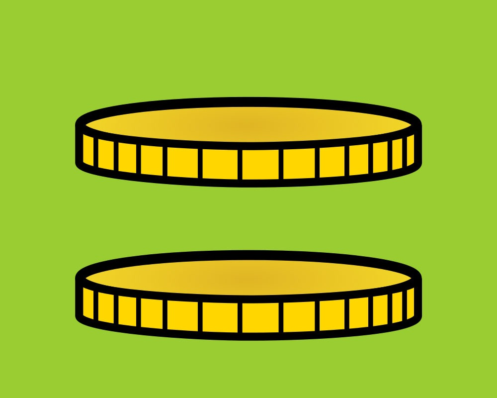 Two gold coins on a green field. Their parallel position suggests an equals sign.