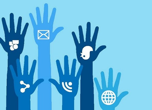 sketch of the hands raised with logos of different social media platforms on the palm. used in an article about social media for nonprofits